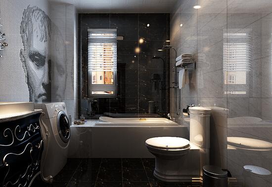 现代简约黑白风格的卫生间中大多采用黑色的基调,浴室,洗手盆